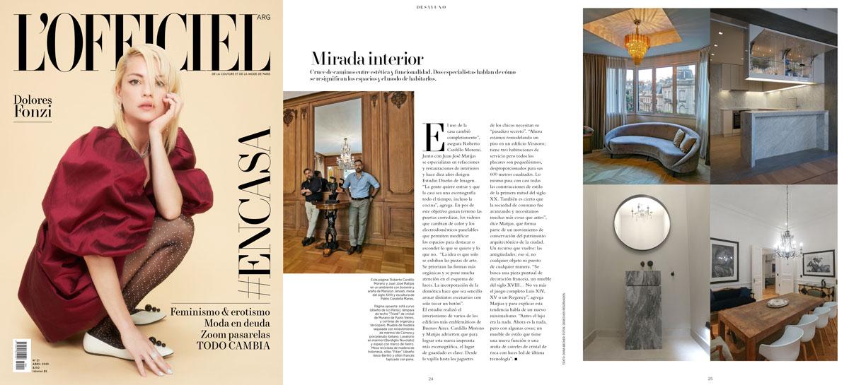 Nota publicada en la revista L'Officiel Argentina abril 2020